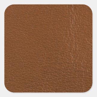 Brunt läder fyrkantigt klistermärke