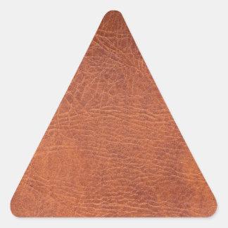 Brunt läder triangelformat klistermärke