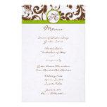 Brunt och Apple - grön damastast bröllopmeny