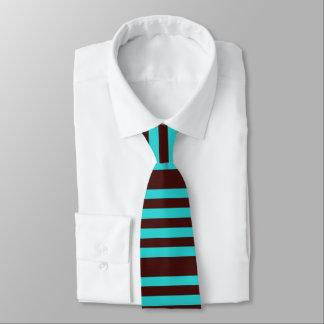 Brunt och aqua görad randig tie slips