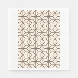 Brunt och beige geometriskt art décomönster pappersservett