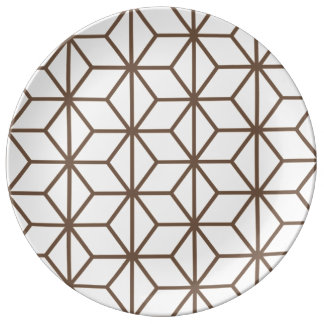 Brunt och beige geometriskt art décomönster porslinstallrik