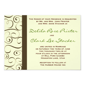 Brunt och beige krusidullinbjudan 12,7 x 17,8 cm inbjudningskort