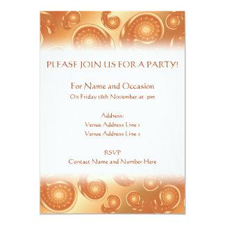 Brunt och orange Paisley mönster 12,7 X 17,8 Cm Inbjudningskort