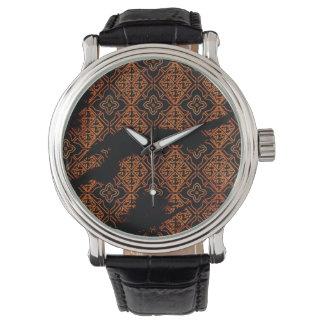 Brunt och svart blom- armbandsur för Grunge