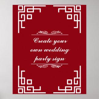 Brunt rödbrunt virvlar runt vitgränsbröllopsfesten poster