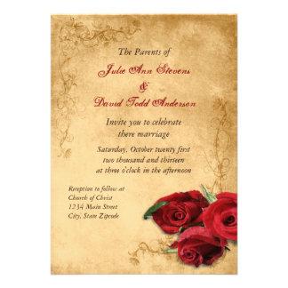 Brunt rosa bröllop för vintageCaramel Skräddarsydda Inbjudan
