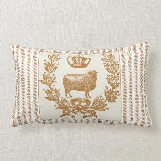 Brunt ticka verkställer med får och kronan kudde