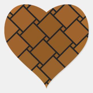 Bruntet Kvarter-n-Pricker Hjärtformat Klistermärke