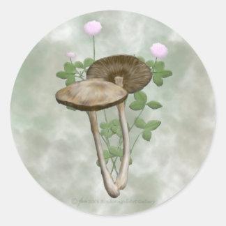 Bruntet plocka svamp med rosa klöverklistermärkear runt klistermärke