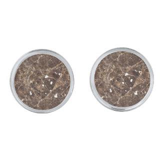 Bruntet tonar naturmarmorstenen silverpläterade manschetterknappar
