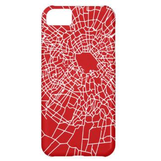 Brutet glass rött iPhone 5C fodral