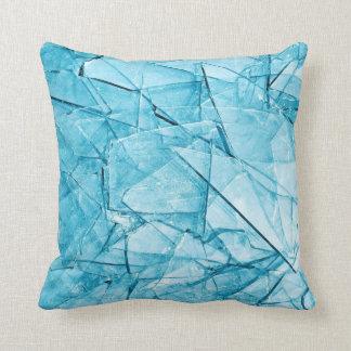 brutna glass blått kudder kudde