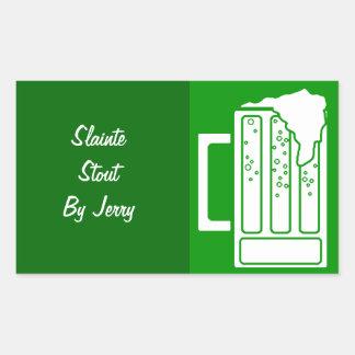 Brygd för hem för öl för grönt för dag för rektangulärt klistermärke
