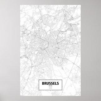 Bryssel Belgien (svarten på vit) Poster