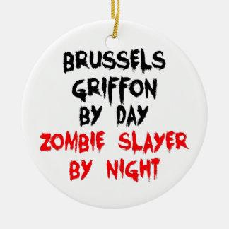 Bryssel Griffon av dagZombieslayeren vid natt Julgransprydnad Keramik