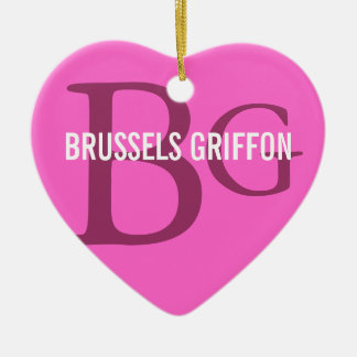 Bryssel Griffon avelMonogram Julgransprydnad Keramik