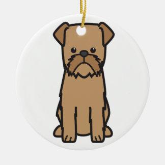 Bryssel Griffon hundtecknad Julgransprydnad Keramik