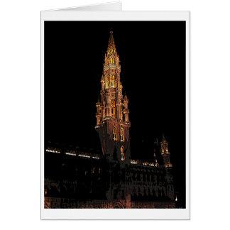 Bryssel på natten hälsningskort