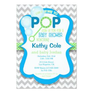 Bubbla blått för poppojkebaby shower & göra grön 12,7 x 17,8 cm inbjudningskort