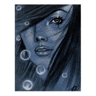 Bubblar blåttsjöjungfruvykortet vykort