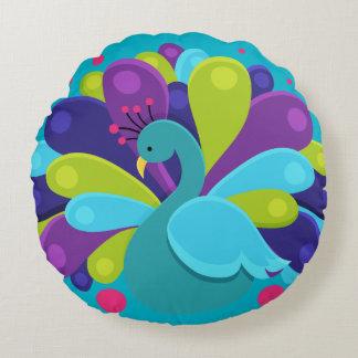 Bubblig påfågel - dekorativ kudde rund kudde