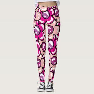 Bubbliga rosablommor leggings