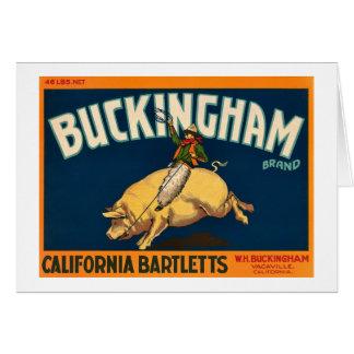 Buckingham Bartlett äpplen - vintagelådaetikett Hälsningskort