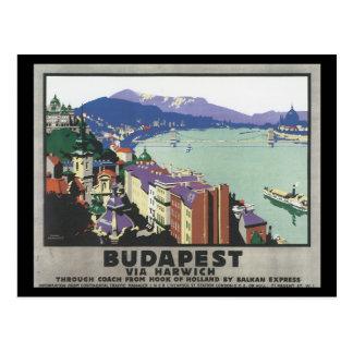 Budapest via Harwich_Vintage reser affischen Vykort