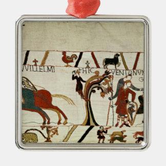 Budbärare från hertigen William till grabben de Silverfärgad Fyrkantigt Julgransprydnad