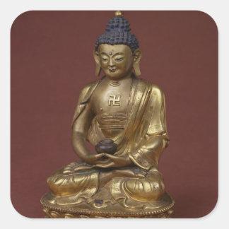 Buddha Amitayus som placeras i meditation Fyrkantigt Klistermärke