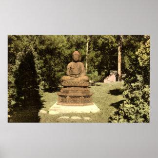 Buddha i japanträdgårdvintage 1915 poster