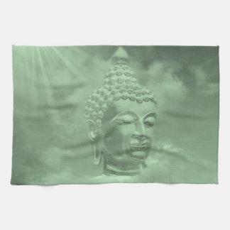 buddha i kulöra moln med den konstgjorda solen kökshandduk