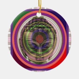BUDDHA i ROLIGT för Guru för ledar- lärare för Rund Julgransprydnad I Keramik