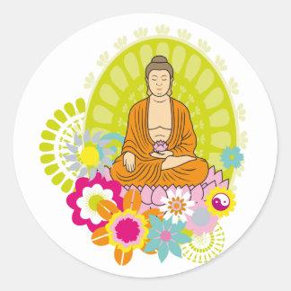Buddha i vår blommor runt klistermärke