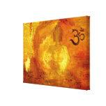 Buddha med Om och Lotosflowers Canvastryck