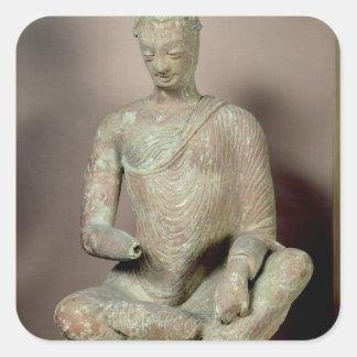 Buddha placerade i meditation, från Fondukistan Fyrkantigt Klistermärke