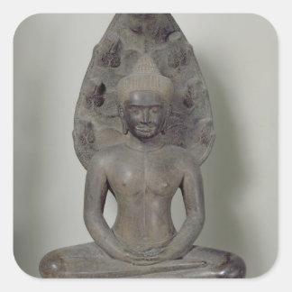 Buddha placerade i meditationen på nagaen, Angkor Fyrkantigt Klistermärke