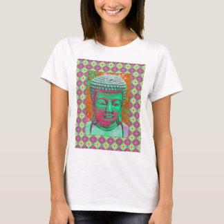 Buddha pop med Patchworkgränser i grönt och rött Tee Shirts