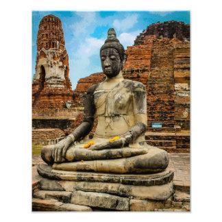Buddha staty Ayutthaya Thailand Fototryck