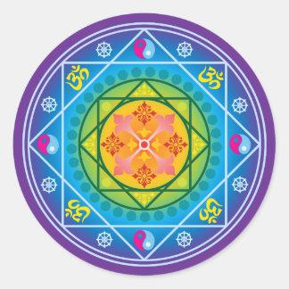 Buddisten Om, Dharma rullar & den Yin Yang Runt Klistermärke