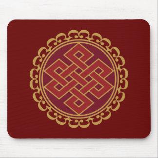 Buddistiskt ändlöst eller evigt fnurramönster mus mattor