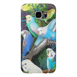Budgie papegojor i fodral för FernsSamsung galax Galaxy S5 Fodral