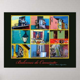 Buenos Aires Caminito balkonger Poster