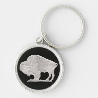 buffel rund silverfärgad nyckelring