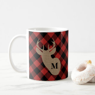 Buffelpläd och BurlapMonogramhjort Kaffemugg