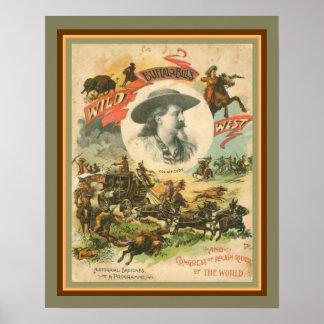 Buffelräkning affisch 16 x 20 för vilda western