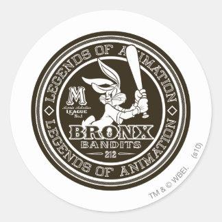 BUGS BUNNY ™Bronx bombplan logotyp B/W för runda Runt Klistermärke