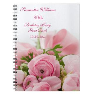 Bukett av den 80th födelsedagen för rosa ros anteckningsbok med spiral