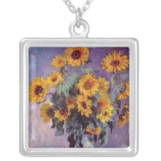 Bukett av solrosor vid Claude Monet Silverpläterat Halsband